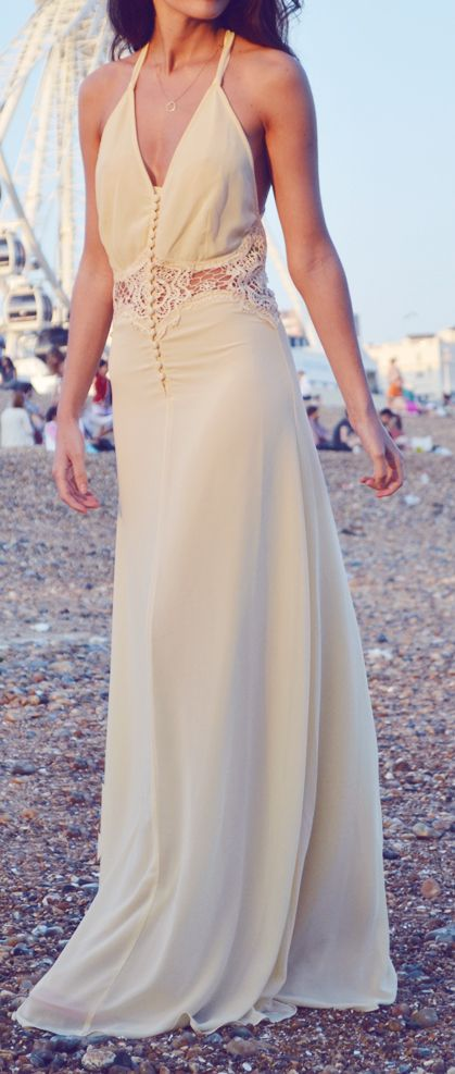 Loving this beige lace maxi dress for summer style for Summer maxi dress for wedding