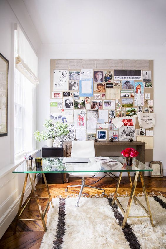 Office goodness | Office Styling | Inspiration Boards | Moroccan Rug | Brass + Glass Desk Trestle Desk: