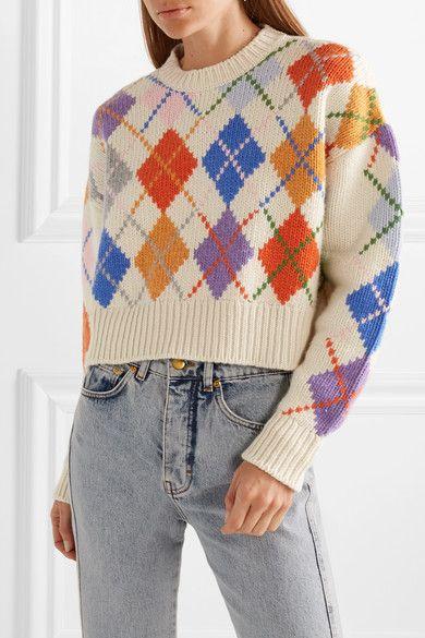 Miu Miu | Cropped argyle wool sweater | NET-A-PORTER.COM
