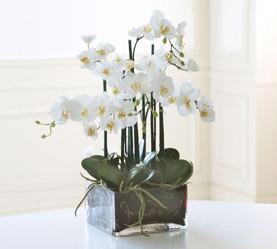 Faux Orchid Phalaenopsis Arrangement In Square Vase Orchid Centerpieces Orchid Arrangements Flower Arrangements