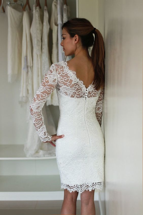 Short wedding dress with sleeves reception dress french for Long dress for wedding reception