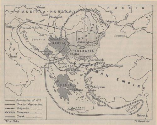 Balkan aspirations - this map from 1914 illustrates the territorial ambitions of 4 nations: Bulgarians, Greeks, Romanians and Serbs