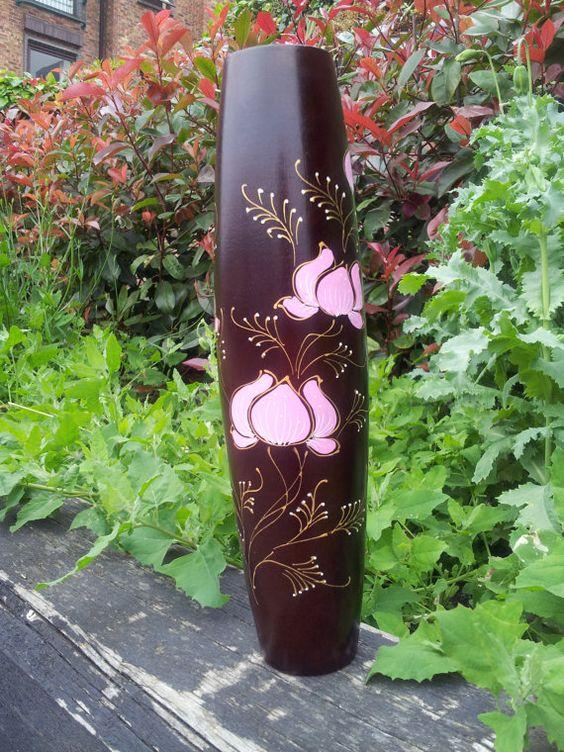 #Handmade Mango Wood #vase #Decorated hand by handmade4everyone, $31.00