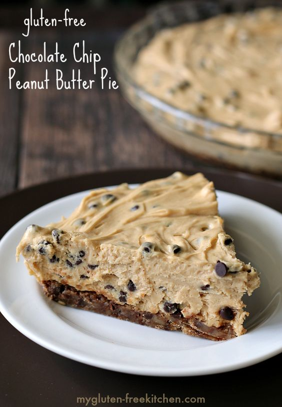 Gluten-free Chocolate Chip Peanut Butter Pie Recipe. // Yum! I can't wait to try this with nut-free SunButter!