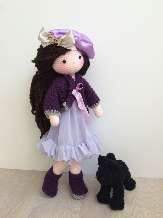 Amigurumi Square Doll : Purple amigurumi doll and her crochet fluffy doggy ...