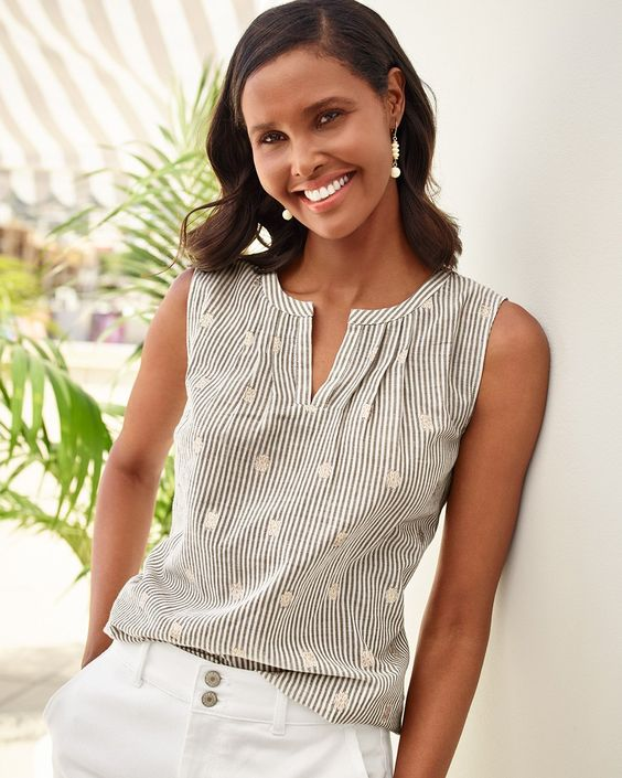 A fresh take on classic stripes. Metallic clip flowers add a touch of refinement to this airy split-neck shell. | Talbots Summer 2019