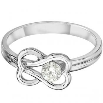 Diamond Love Knot Right-Hand Fashion Ring in 14k White Gold (0.25ct)