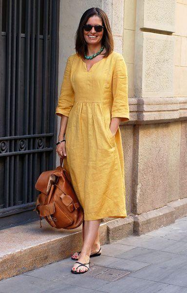 Желтое платье из натуральной ткани поднимет вам настроение