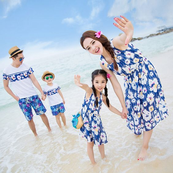 Floral Sleeveless Summer Beach Dresses for Mummy Daughter Son Dad T-shirt Family Matching Clothes Girl Women Holiday Dresses 3XL