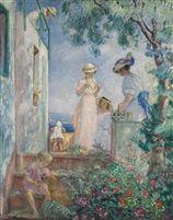 Jeunes filles sur une terrasse. Sainte-Maxime, 1914 Henri Lebasque (1865 - 1937)
