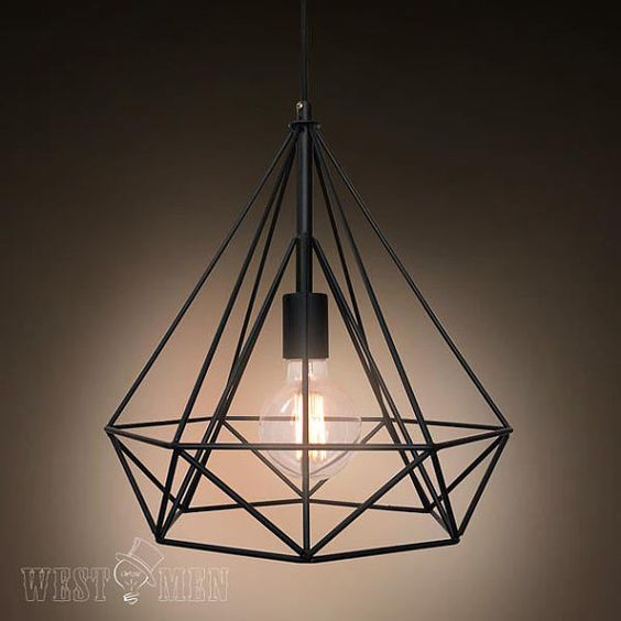 Metal wire diamond pendant lamp diy industrial vintage for Metal hanging lights