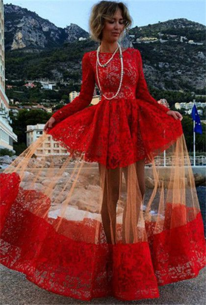 Long sleeve red prom dress