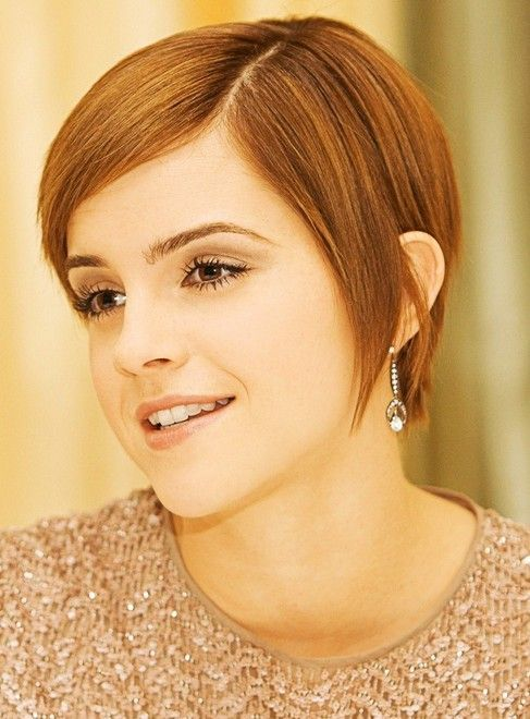 Emma Watson Short Hairstyle Straight Locks Frisuren