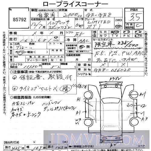 2000 Subaru Impreza Wrx Sti Ver Gf8 85792 Uss Tokyo 108315 Jdmvip Ais Auction Intelligence System Jdmvip The Web S Unbia Subaru Impreza Wrx Impreza