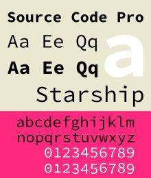 Schriftbeispiel für Source Code Pro