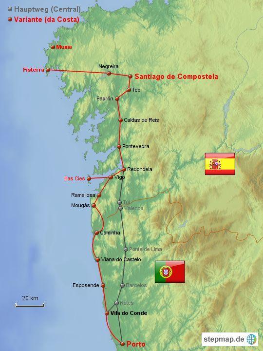 Caminho Portugues Da Costa Jakobsweg Karte Landkarte Jacobsweg