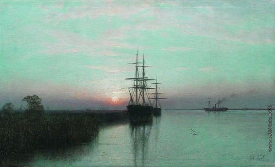 Lev Lagorio - Ships in the bay at sunset (1885)