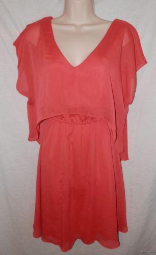Womens MISS SIXTY M60 DRESS 10 M Medium Solid ORANGE Layered Chiffon Blouson