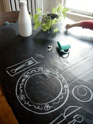 Need something for my tabletop since it will also be used as a kitchen work space! This would be fun.     chalkboard tablecloth by elsiemarley, via Flickr