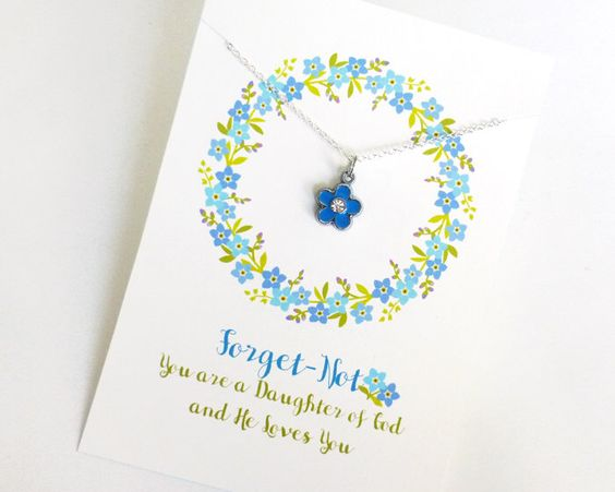 Forget Me Not Necklace with Cute Backer Card: Forget Not You are a Daughter of God and He Loves You - Great for Girl Gifts and Primary by GiftsDesignedByMaria on Etsy https://www.etsy.com/listing/276435884/forget-me-not-necklace-with-cute-backer