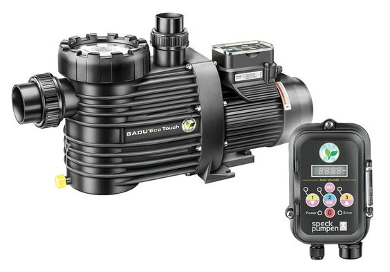 Badu Eco Touch Pro - Pump for swimming pools from 30 m³ to 70 m³ with three motor speed fields that can be set individually, between 1000 and 2830 rpm.