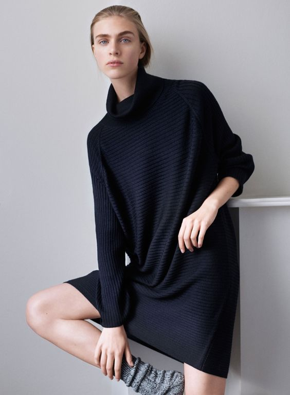 Model wears leisurewear,knitwear and socks Pose for COS holiday 2015 collection Lookbook Photoshoot