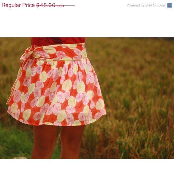 ON SALE Autumn Orange and Yellow Flowers Mini Skirt with Sash Belt. $31.50, via Etsy.