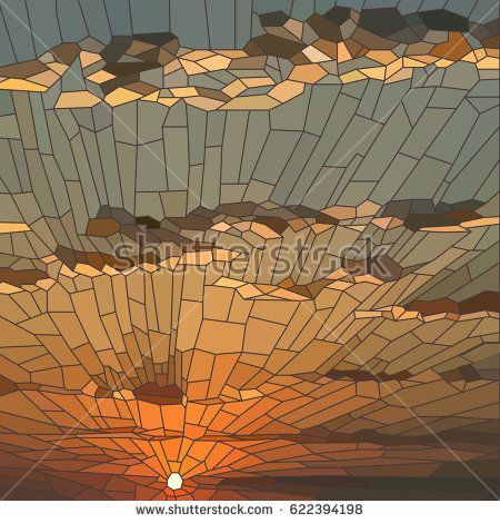 Vector Illustration Of Sunset With Clouds In Stained Glass Window