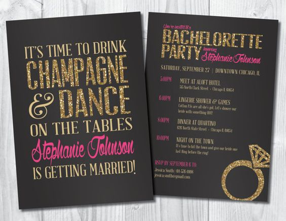 "Bachelorette Invitation: ""Time to Drink Champagne & Dance on the Tables!"", Bachelorette Party Invite (Customizable & Printable) from SweetBeeShoppe"