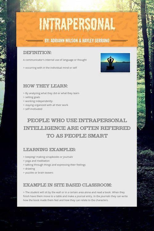 intrapersonal multiple intelligenceslearning styles