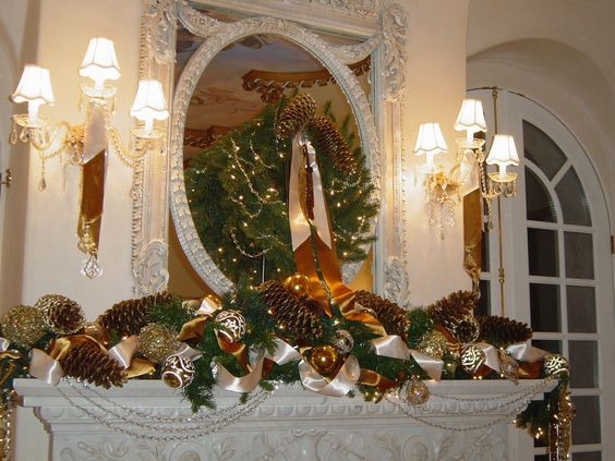 "1 of 3 fireplace mantles we designed for our clients home ""A Versaille Christmas in California""."