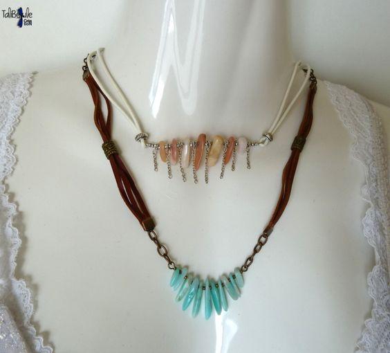 Toi et Moi ChabadaBada - Duo lithothérapeutiques de colliers en cuir aux aiguillettes d'opale rose des Andes et amazonite du Pérou - 28 €