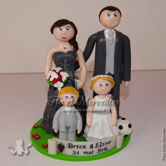 wedding cake topper figurines mariage personnalises en famille - Figurine Mariage Personnalise