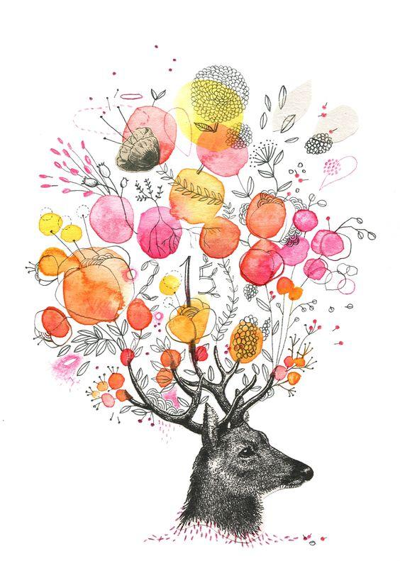 deer, aquarelle, Cécile Hudrisier