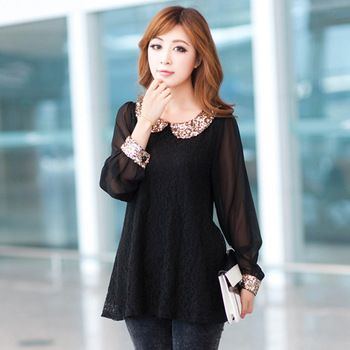 Summer Dress New 2015 Autumn Ladies Shirt Lace Chiffon Blouses ...