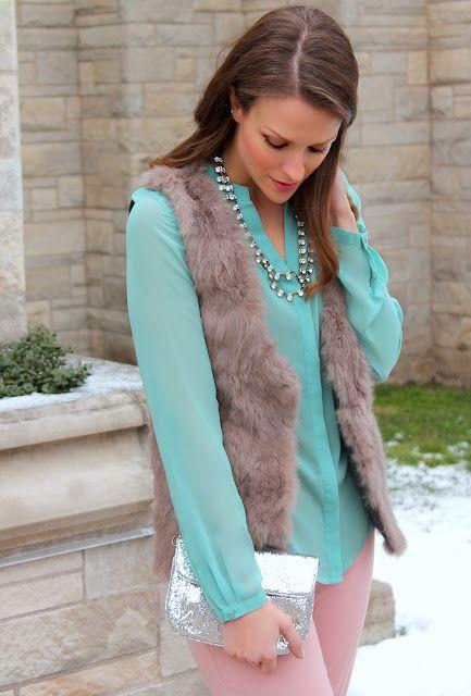 East 5th blouse, The Limited pants, Fabulous on a Dime vest, ELLE pumps, J. Crew necklace & clutch, Lips: Revlon Super Lustrous Matte Stormy Pink