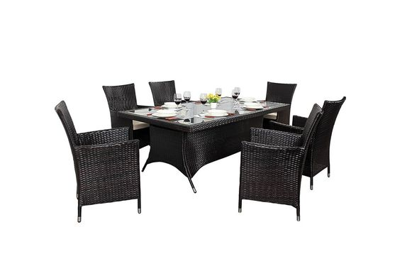 http://www.bonsoni.com/bonsoni-rectangle-dining-set-6-piece-includes-a-large-glassed-top-rectangular-table-eight-chairs-and-a-parasol-rattan-garden-furniture  The chairs come with sturdy armrests and seat cushions for maximum comfort.  http://www.bonsoni.com/bonsoni-rectangle-dining-set-6-piece-includes-a-large-glassed-top-rectangular-table-eight-chairs-and-a-parasol-rattan-garden-furniture