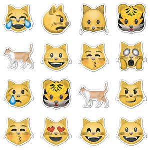 Cat Emojis, $16, cat emoticon stickers by Emoji Stickers !!   PETS ...