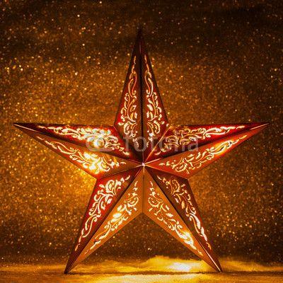 Weihnachtsstern mit glitzerndem Hintergrund