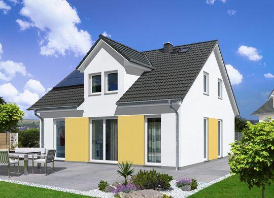 fehér színű ház élénkebb sárga kiemeléssel