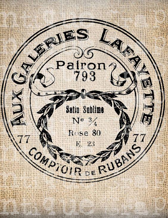 Antique Français Paris Label Boutique cosmétiques toilette Digital Download de Papercrafts, transfert, oreillers, etc. 2939 sans toile de jute
