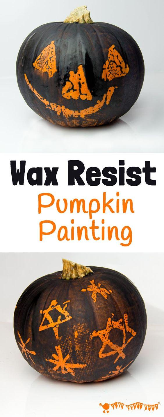 Wax Resist - Pumpkin Carving Alternative