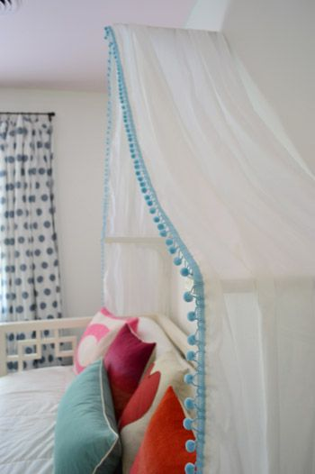 Clara's Canopy! Washable polycotton gauzze, double hemmed with pompom trim draped over shelf brackets xxx
