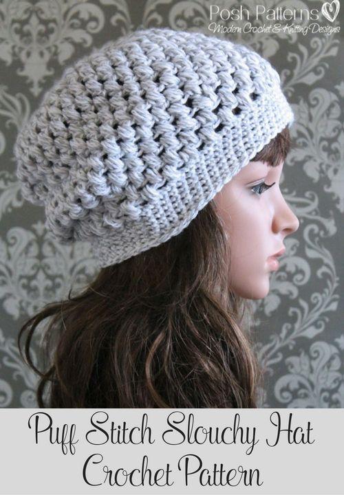 Puff Stitch Slouchy Hat Crochet Pattern | Puntadas, Hilos y lana y ...