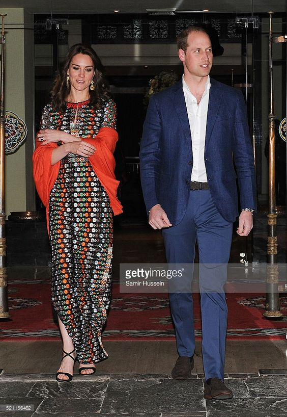 Prince William, Duke of Cambridge and Catherine, Duchess of Cambridge attends a private dinner with the King and Queen of Bhutan on April 14, 2016 in Thimphu, Bhutan.  (Photo by Samir Hussein/Poo/WireImage):