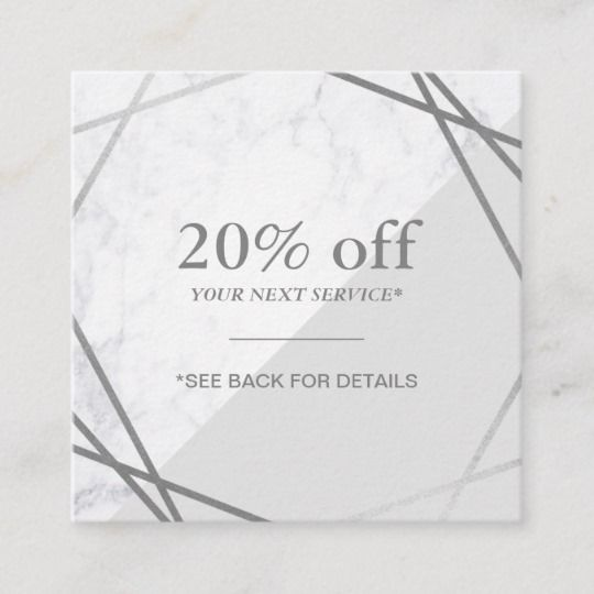 Minimalist Geometric Marble Grey Silver Discount Square Business