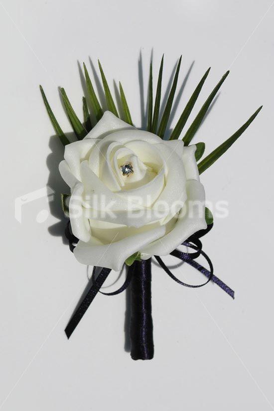 Ivory Foam Rose Artificial Wedding Buttonhole w/ Navy Ribbon