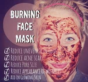 RED Burning Face Mask. Ingredients: 1/2 tsp cinnamon 1/2 tsp nutmeg 1 tsp honey 2ish tsp lemon juice. BUT I recommend using a Tomato PASTE instead of the lemon juice. The pH level in lemons will get rid of acne but will make it harder for you skin to absorb moisturizer later on. Tomatoes have vitamin A which is really good for acne. The paste also give it a nice consistency. Start to wash off if it feels tight or if it feels like it is actually burning lol.