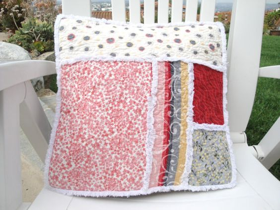 Quilted Decorative Pillow Gray Pink Yellow by rusticpatriotgirl, $28.00
