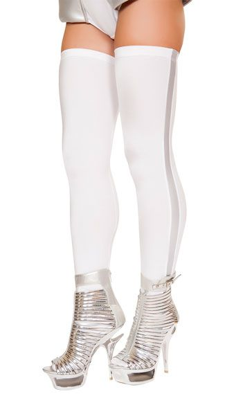 Rocket into space with these white thigh high stockings featuring a silver stripe design. Astronaut Thigh Highs, White and Silver Thigh Highs, White Thigh High Stockings #costumeaccessories #madeinusa #hosiery
